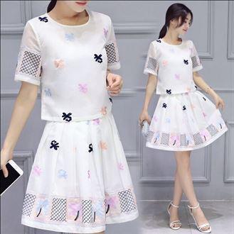 2016新款夏装韩版套裙两件套短袖圆领刺绣时尚休闲连衣裙女裙套装