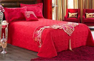 婚庆四件套大红 欧式结婚床上用品 结婚红色龙凤婚庆床品六十件套