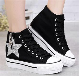 高邦帆布鞋女厚底内增高松糕跟白色学院风女生板鞋百搭高帮凡布鞋