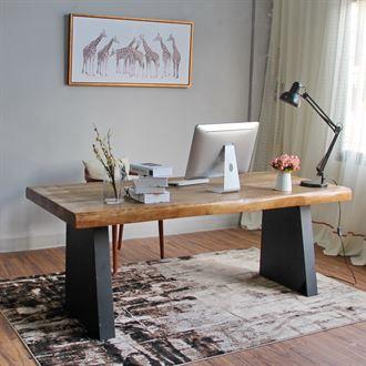 北欧实木不规则办公桌台式电脑桌家用餐桌书桌会议桌大班桌老板桌