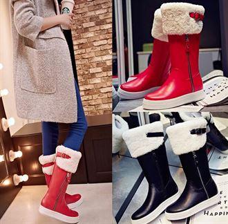 冬季真皮中筒靴平底皮毛一体松糕底雪地靴黑色女靴子红色保暖女鞋