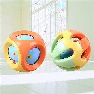 婴儿玩具手抓球0-3-6-12个月宝宝爬行运动健身球叮咚球婴儿摇铃球