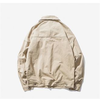 原创秋装自制百搭日系复古立体口袋工装短款水洗做旧夹克外套男装